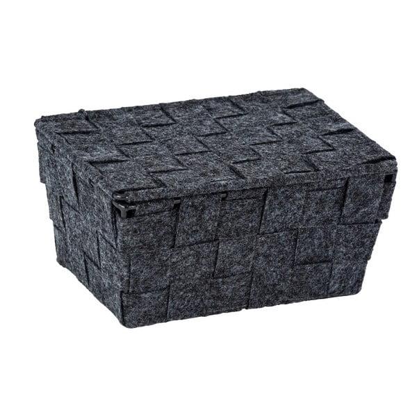 Mara sötétszürke filc kosár fedéllel, szélesség 19 cm - Wenko