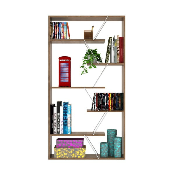 Knihovna v dekoru ořechového dřeva s bílým detailem Rafevi Tars