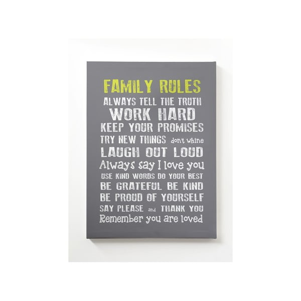 Obraz na plátně Family Rules, 50x70 cm, bílý