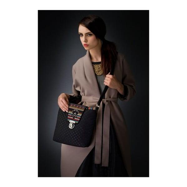 Prošívaná kabelka Goddess s koženým popruhem, černá