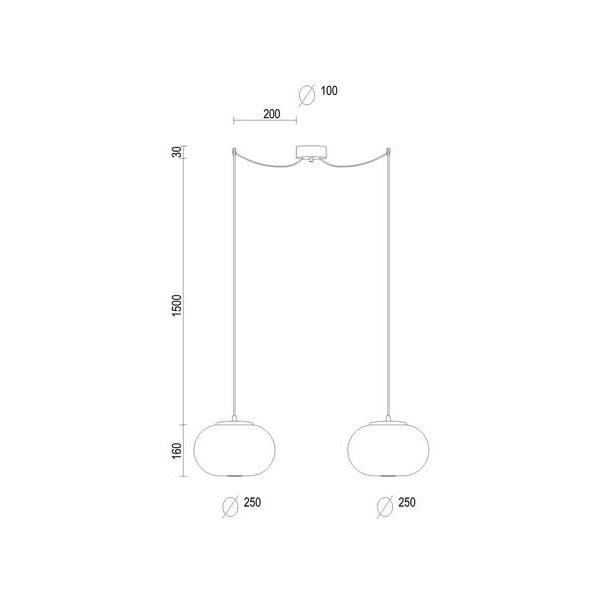 Dvojité závěsné svítidlo z opálového skla se zlatou objímkou a bílým kabelem Sotto Luce DOSEI