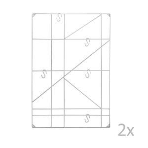 Sada 2 bílých nástěnných držáků s háčky Versa Geometric