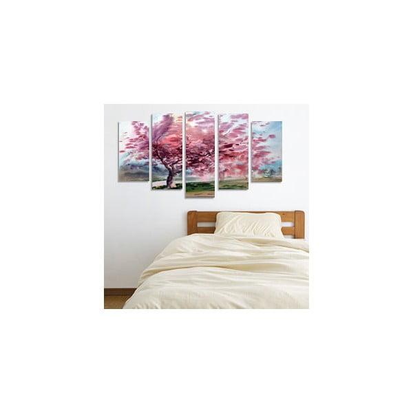 Pětidílný obraz Rozkvetlý strom, 110x60 cm