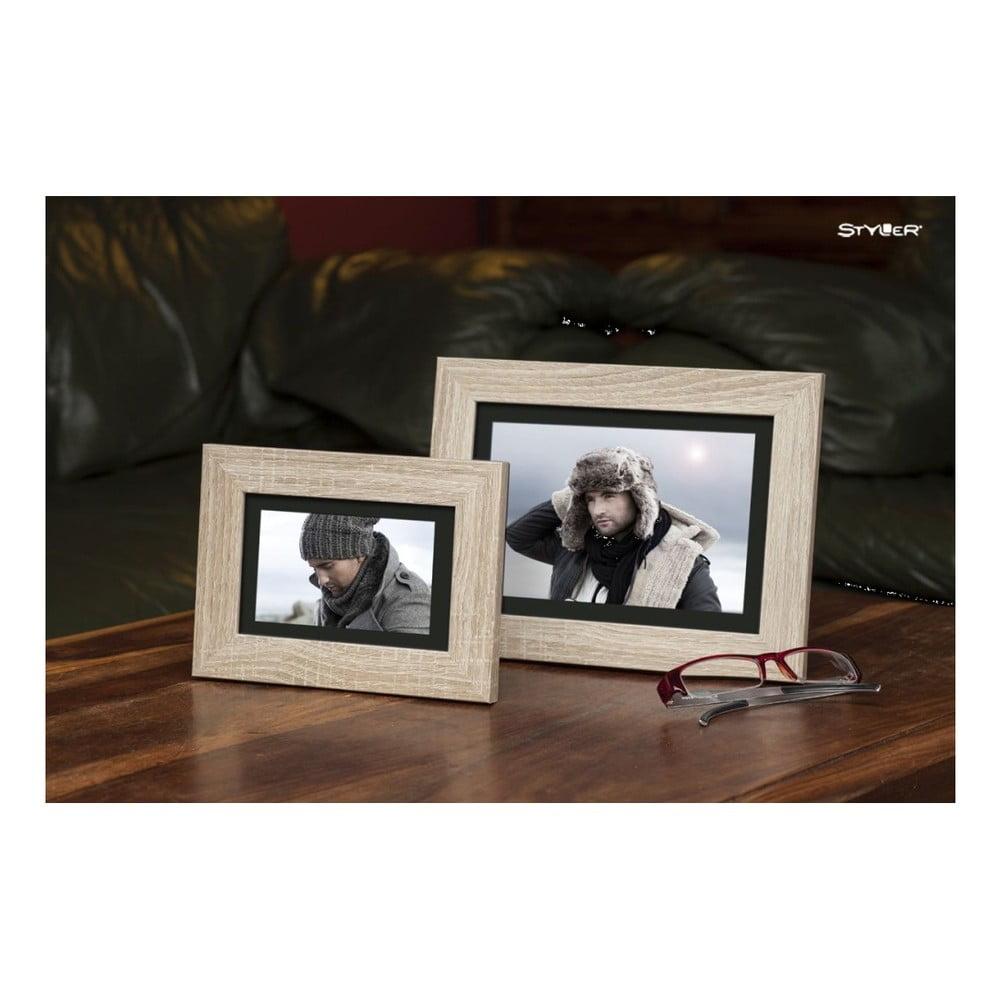Fotografie Světle hnědý rámeček s černou paspartou na fotografii Styler Narvik, 30x50cm Styler