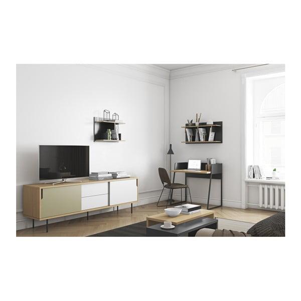 TV komoda v dekoru dubového dřeva s šedo-bílými detaily TemaHome Dann, délka 201cm