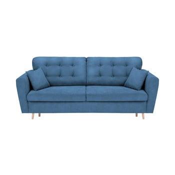 Canapea extensibilă cu 3 locuri și spațiu pentru depozitare Cosmopolitan Design Grenoble albastru
