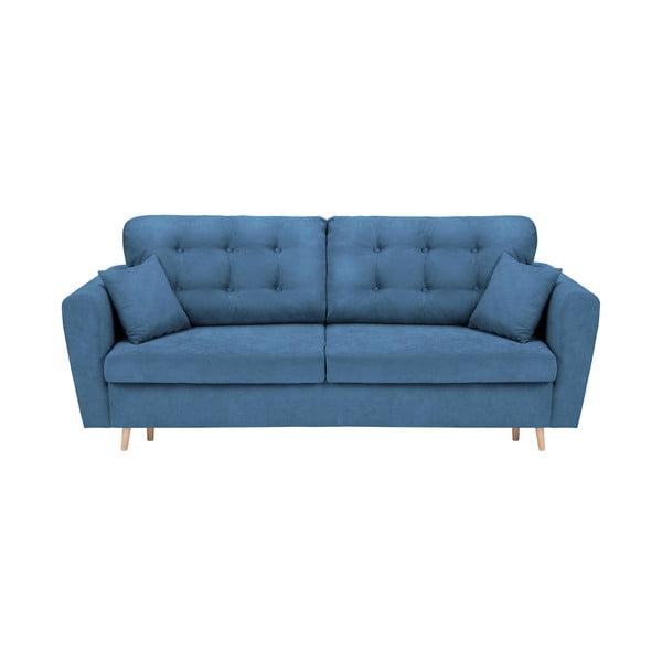Modrá rozkládací pohovka s úložným prostorem Cosmopolitan Design Grenoble