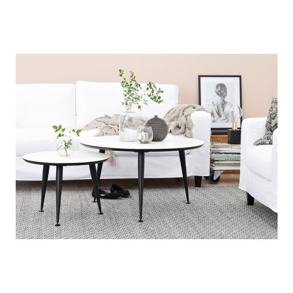 Bílý konferenční stolek s černými nohami Folke Strike, výška 47cmx ∅85cm