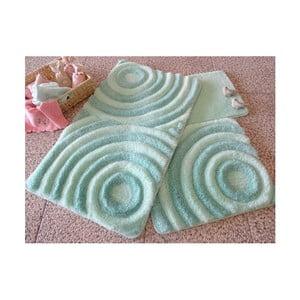 Sada 3 mentolově zelených koupelnových předložek Wave