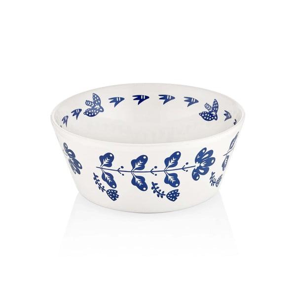 Bílo-modrá porcelánová miska Mia Bloom, ⌀ 23 cm