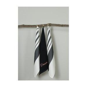 Sada 3 černo-bílých kuchyňských utěrek My Home Plus Dinner, 50 x 70 cm