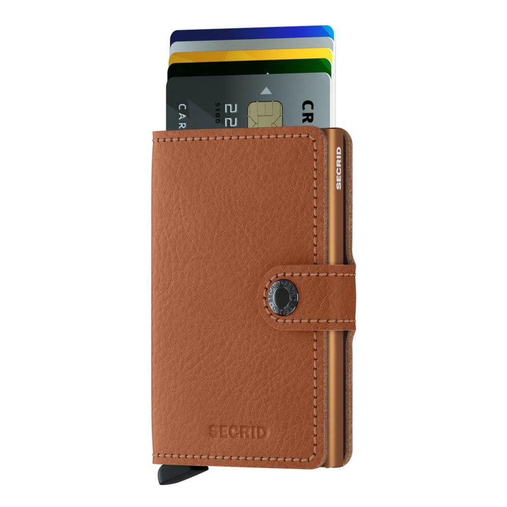 Karamelově hnědá kožená peněženka s pouzdrem na karty Secrid Clip