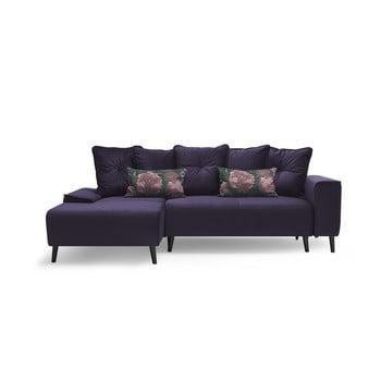 Canapea extensibilă cu șezlong pe partea stângă Bobochic Paris Hera Bis, mov de la Bobochic Paris
