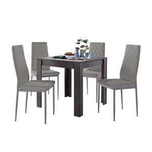 Set jídelního stolu v betonovém dekoru a 4 šedých jídelních židlí Støraa Lori and Barak, 80x80cm