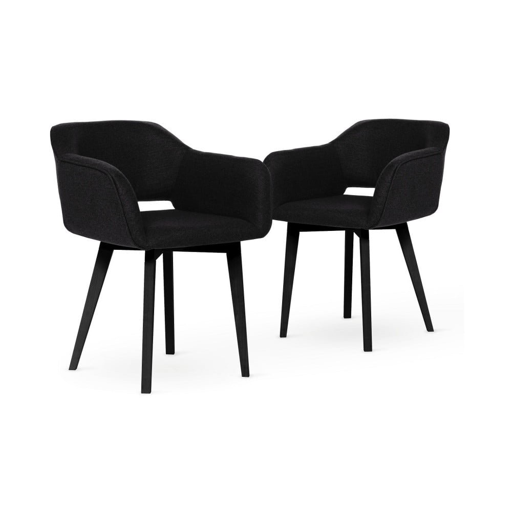 Sada 2 černých jídelních židlí s černými nohami My Pop Design Oldenburger