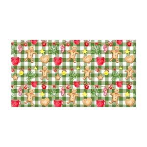 Zelený kuchyňský běhoun Crido Consulting Gingerbread & Lights, délka 100 cm