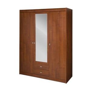 Třídvéřová šatní skříň v třešňovém dekoru se zrcadlem Szynaka Meble Dover