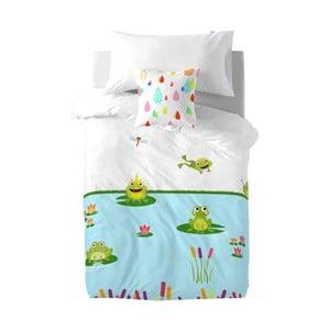 Dětské bavlněné povlečení na peřinu a polštář Mr. Fox Happy Frogs, 140x200cm
