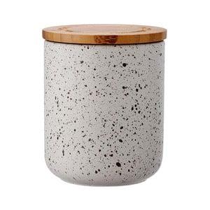 Cutie ceramică cu capac din bambus Ladelle Speckle, înălțime 13 cm, gri