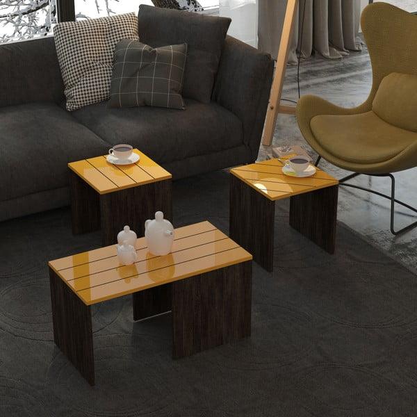 Tmavě hnědý konferenční stolek s hořčicově žlutou deskou Homitis Ramanu