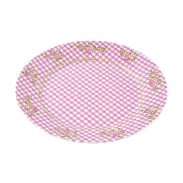 Porcelánový talíř Karo, růžový 4 ks