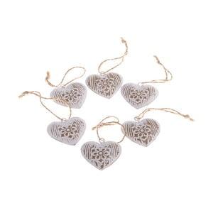 Sada 6 dekorativních závěsných srdcí Dakls Hearts