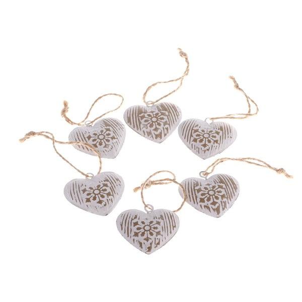 Zestaw 6 dekoracyjnych serc wiszących Dakls Hearts