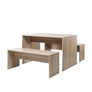 Set jídelního stolu v dekoru dubového dřeva a 2 lavic Intertrade Berlin, 118x78cm