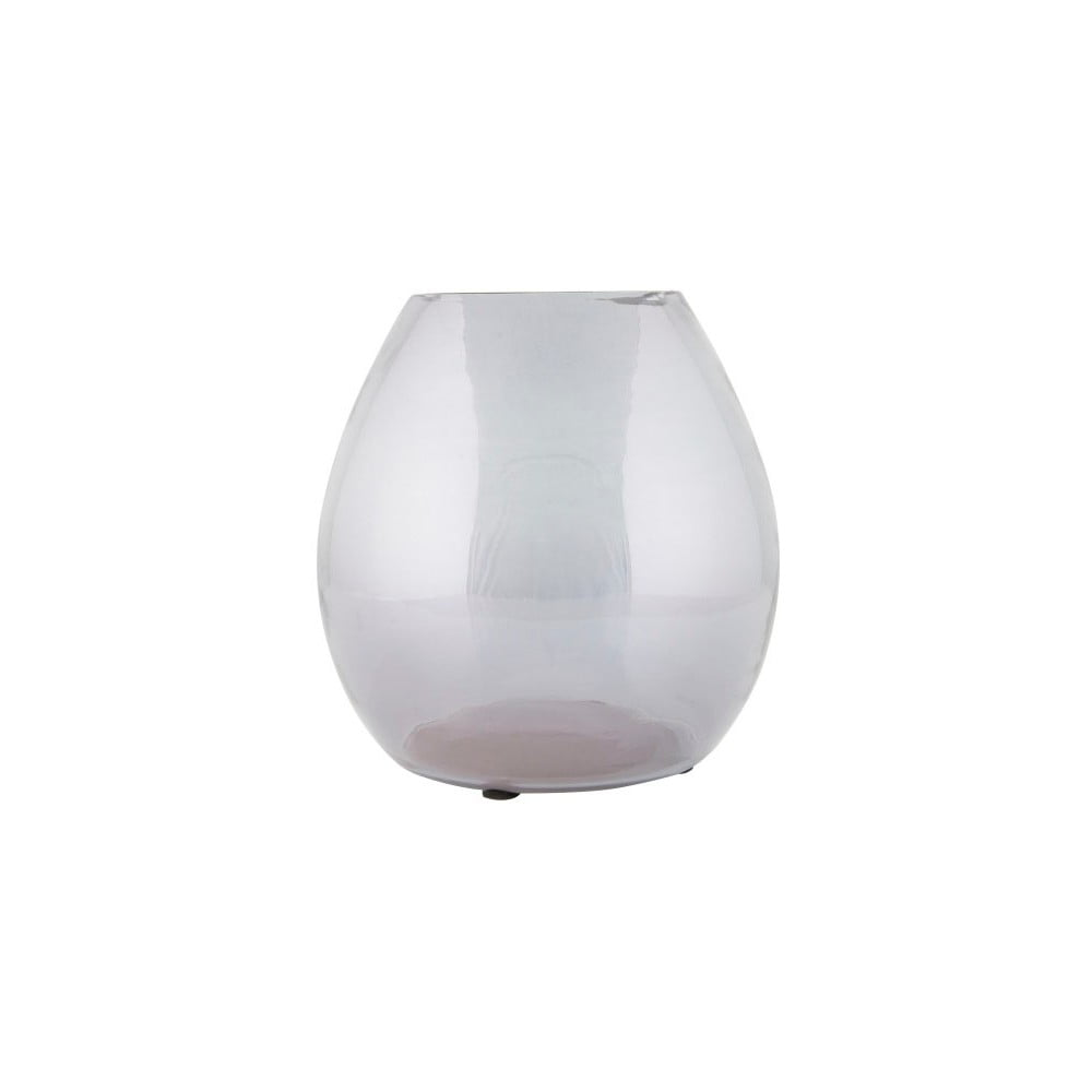 Světle šedá skleněná váza De Eekhoorn Simple, ⌀20cm