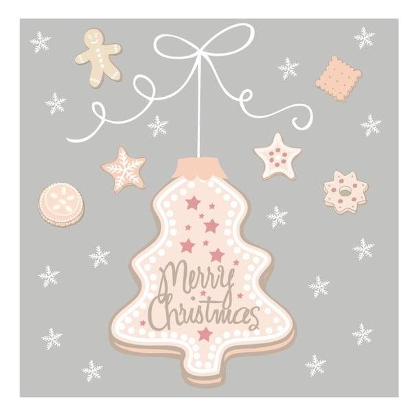 Set 10 șervețele din hârtie cu motive de Crăciun PPD Cookies Tree Grey