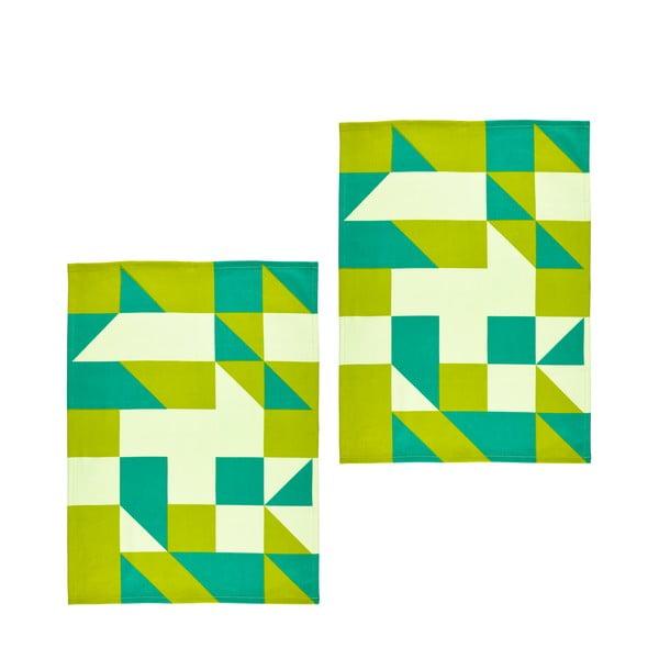 Set 2ks utěrek Zone, 70x50 cm, zelená
