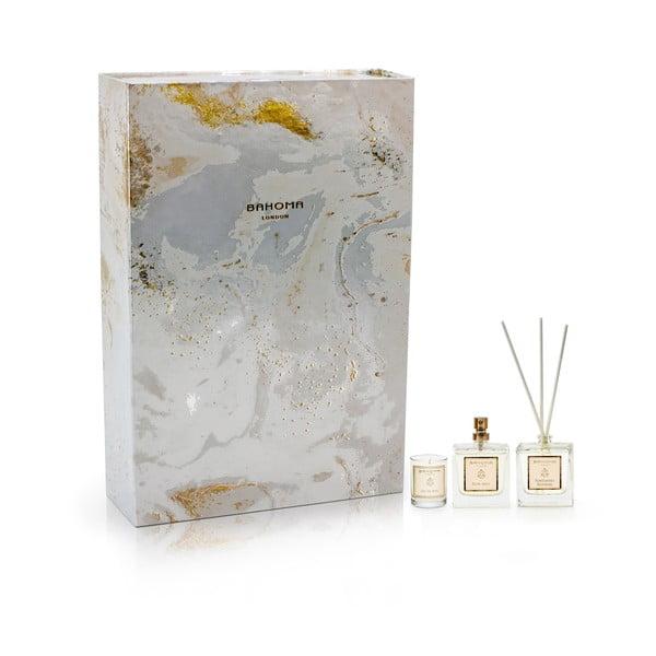 Set 12 vonných sviečok, 6 bytových parfémov a 6 difuzérov Bahoma London Obsidian White