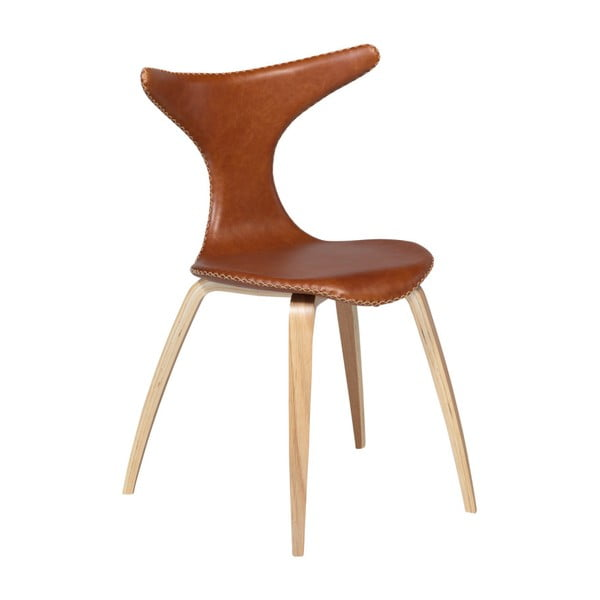Hnědá kožená jídelní židle s přírodním podnožím DAN–FORM Dolphin