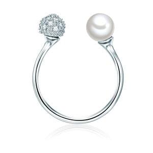 Prsten ve stříbrné barvě s bílou perlou Perldesse Perle, vel. 52