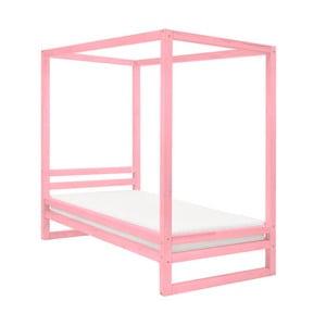 Růžová dřevěná jednolůžková postel Benlemi Baldee, 190x90cm