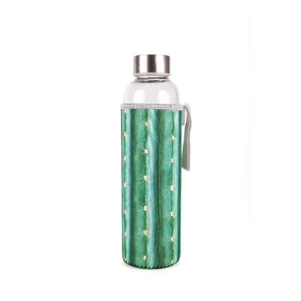 Sklenená fľaša v neoprénovom obale Kikkerland Cactus, 600 ml
