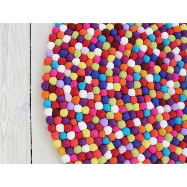 Tmavočervený guľôčkový vlnený koberec Wooldot Ball rugs, ⌀ 90 cm