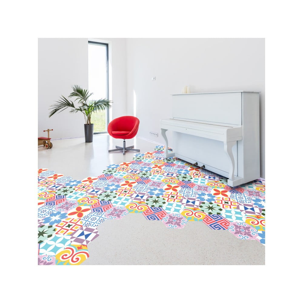 Sada 10 samolepek na podlahu Ambiance Hexagons Rodas, 20 x 18 cm