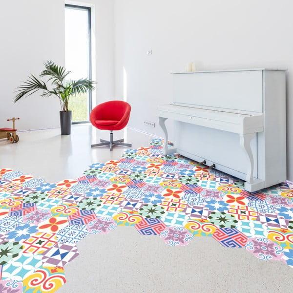 Set 10 autocolante pentru podea Ambiance Hexagons Rodas, 20 x 18 cm