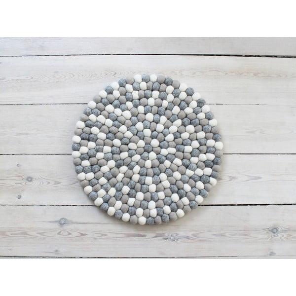 Světle šedo-bílý kuličkový vlněný podsedák Wooldot Ball Chair Pad, ⌀ 39 cm
