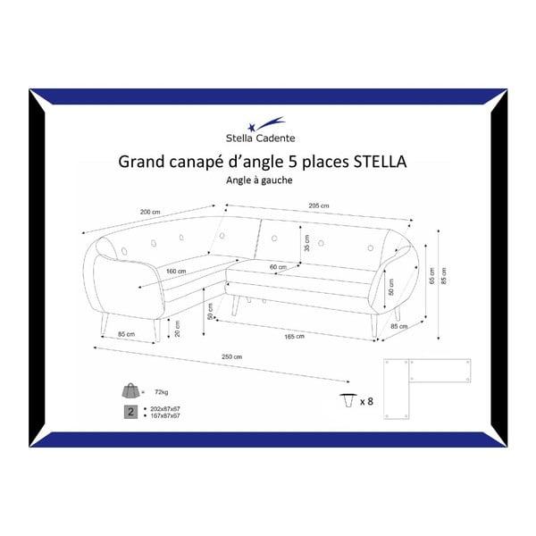Šedá pohovka Stella Grand s lenoškou na levé straně