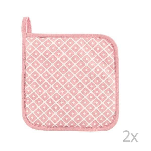 Komplet 2 różowych bawełnianych łapek Tiseco Home Studio Dot