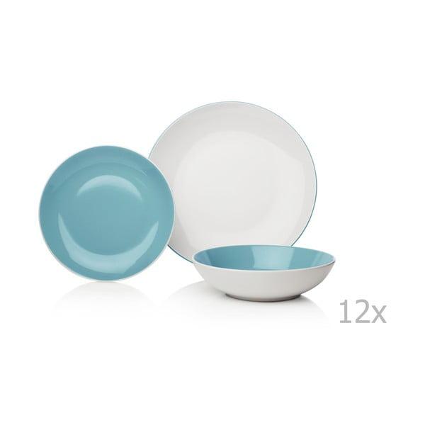 12-częściowy niebiesko-biały komplet naczyń kamionkowych Sabichi Duck Egg
