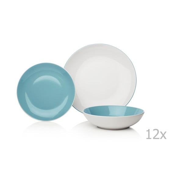 12-dielna modro-biela sada riadu z kameniny Sabichi Duck Egg
