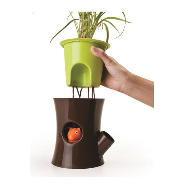 Samozavlažovací květináč Log & Squirrel, bílá/zelená