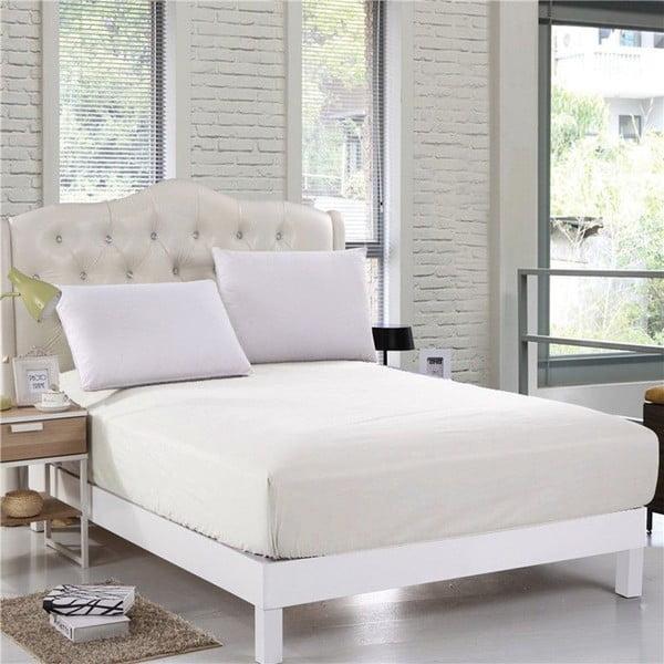 Kremowe bawełniane prześcieradło elastyczne EnLora Home Orme Penye Cream, 160x200 cm