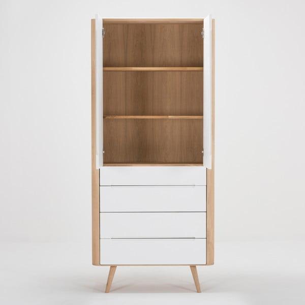 Witryna z konstrukcją z litego drewna dębowego z 4 szufladami Gazzda Ena, szer.90cm