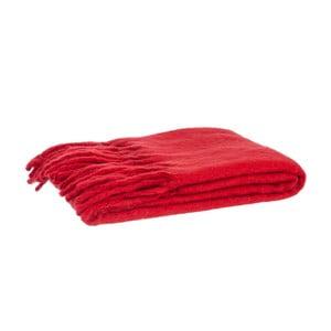 Vlněný pléd Fringes Red, 125x150 cm
