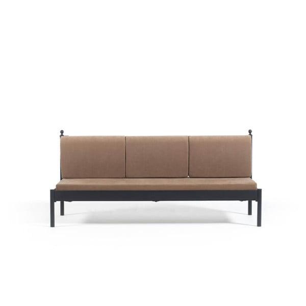 Canapea cu 3 locuri de grădină Mitas, 76 x 209 cm,maro-negru