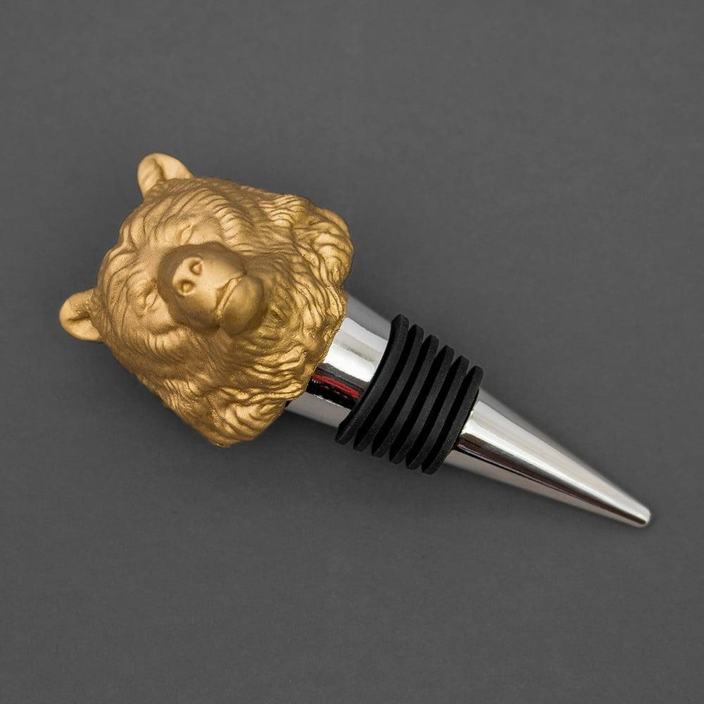 Zátka ve zlaté barvě ve tvaru mědvěda Luckies of London Bottle Bear